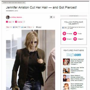 Jennifer Aniston con i capelli corti