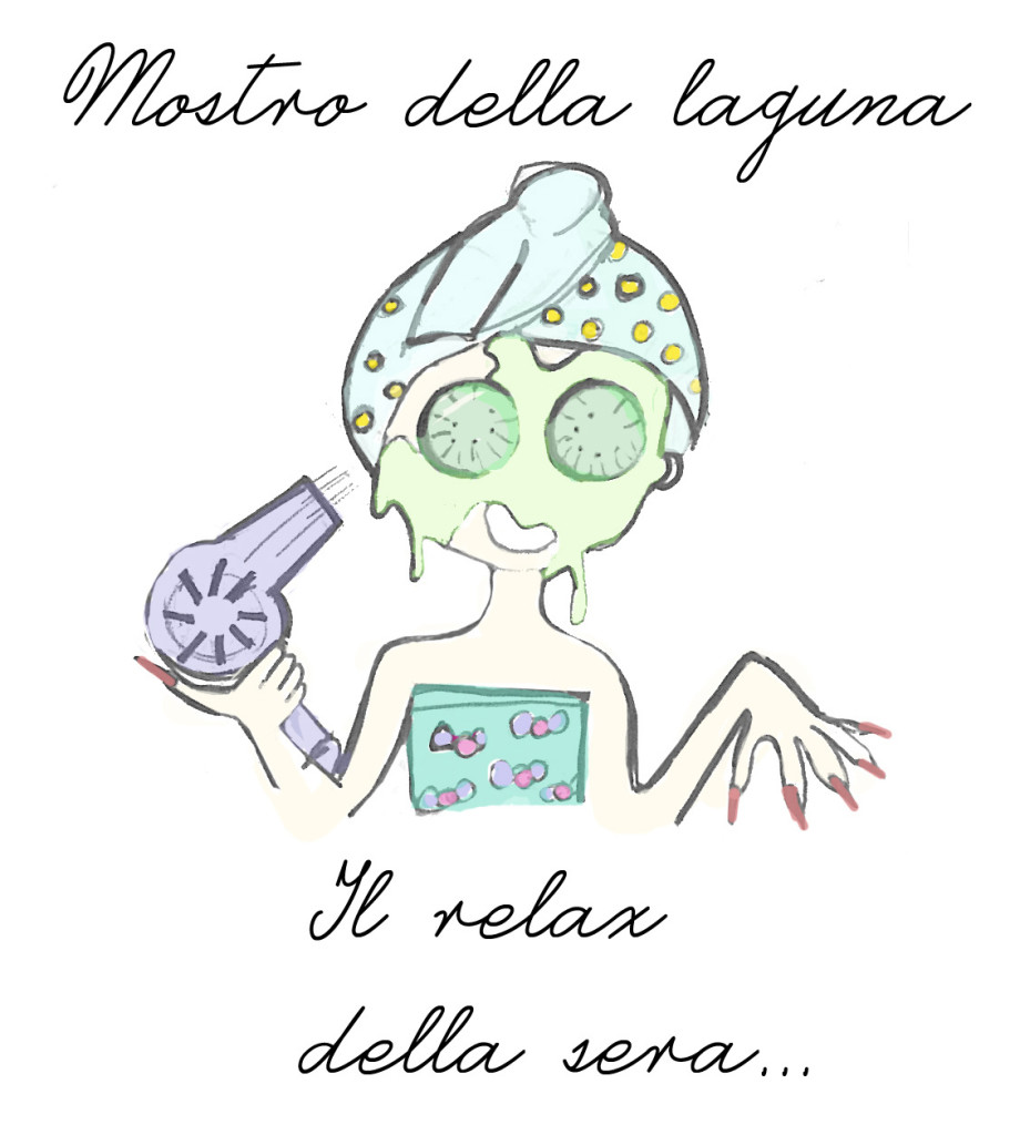 Beauty routine serale, disegno Francesca Fortino